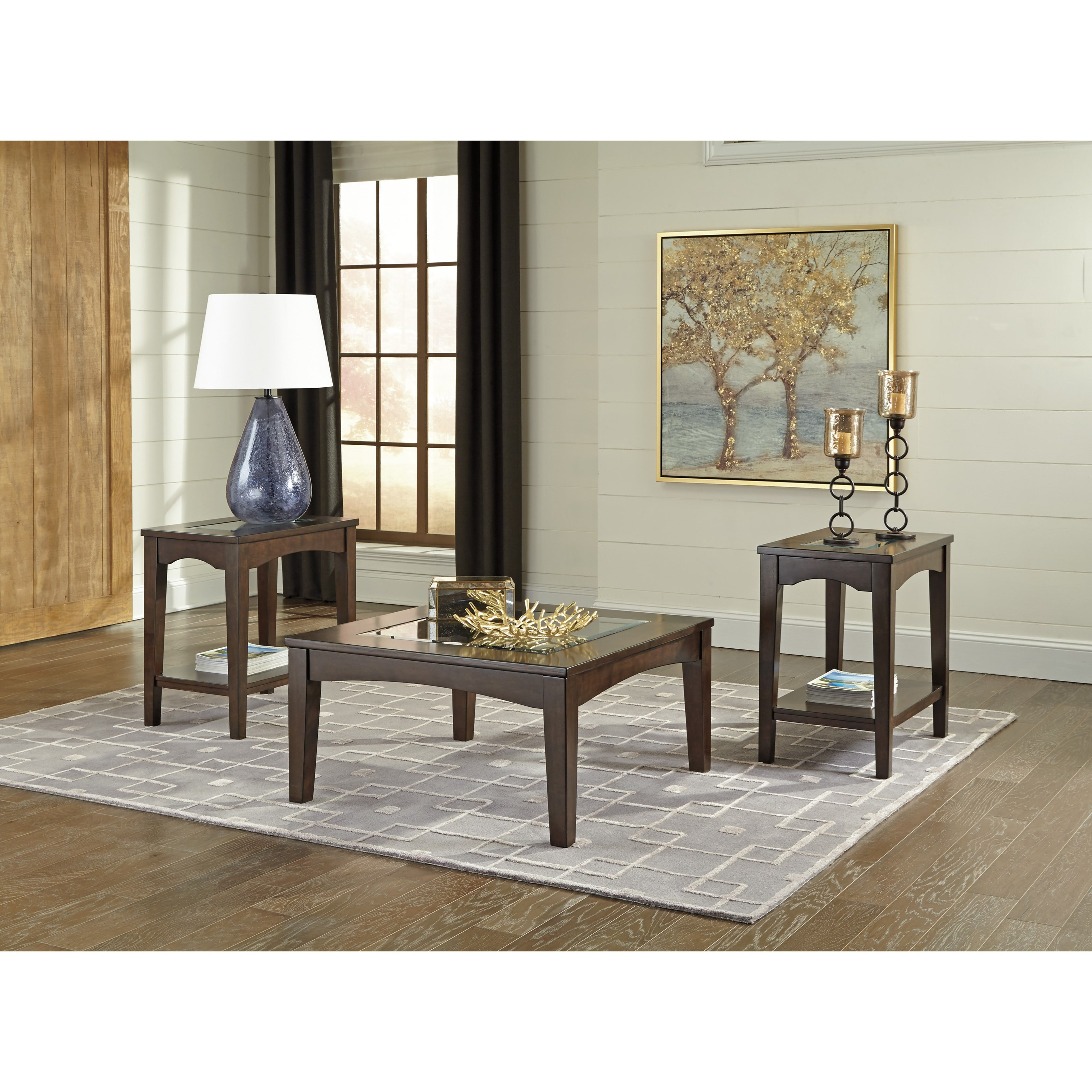 Cronnily 3 Piece Transitional Occasional Table Set With Framed Tempered Glass Top Belfort