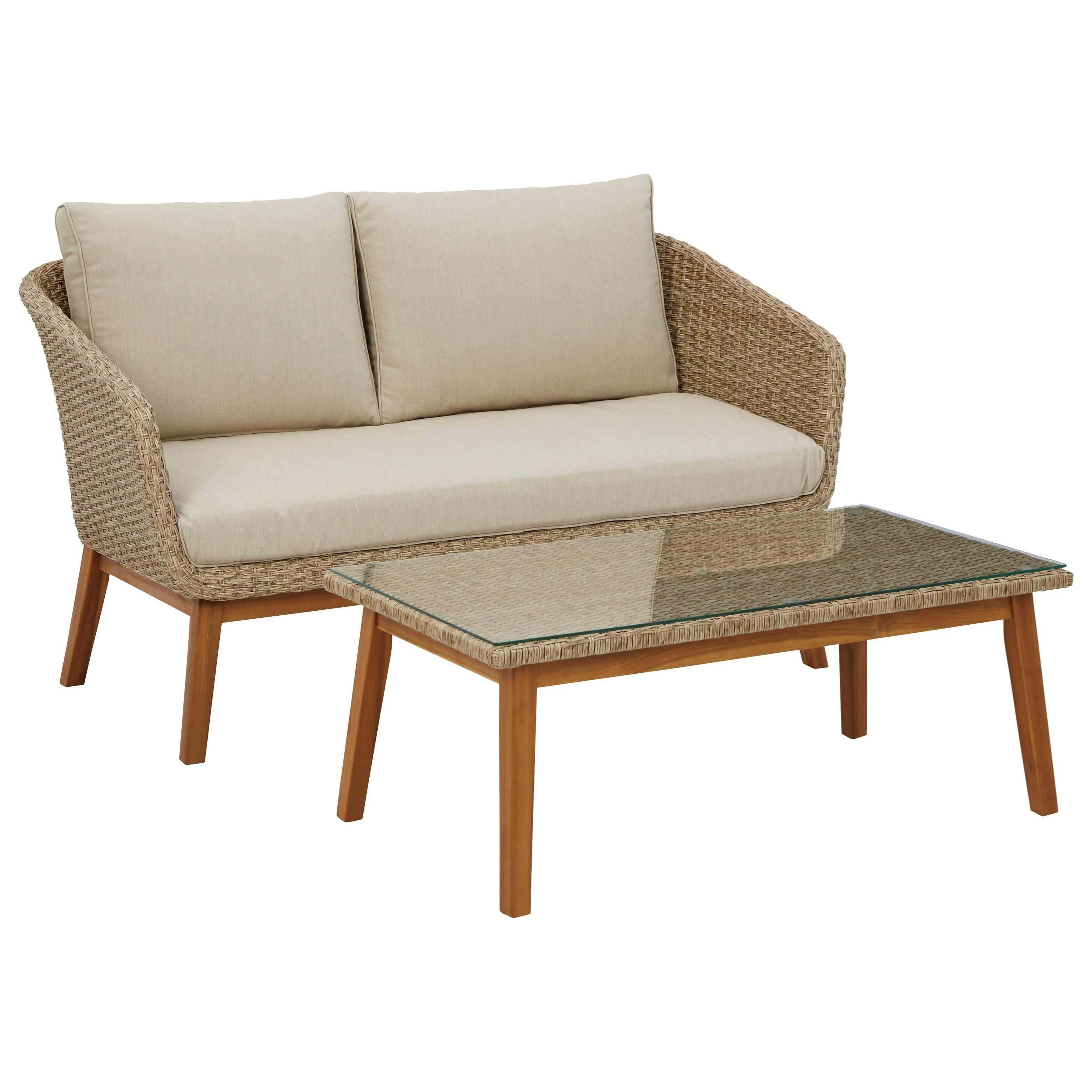 Crystal Cave Loveseat w/ Table by Signature at Walker's Furniture