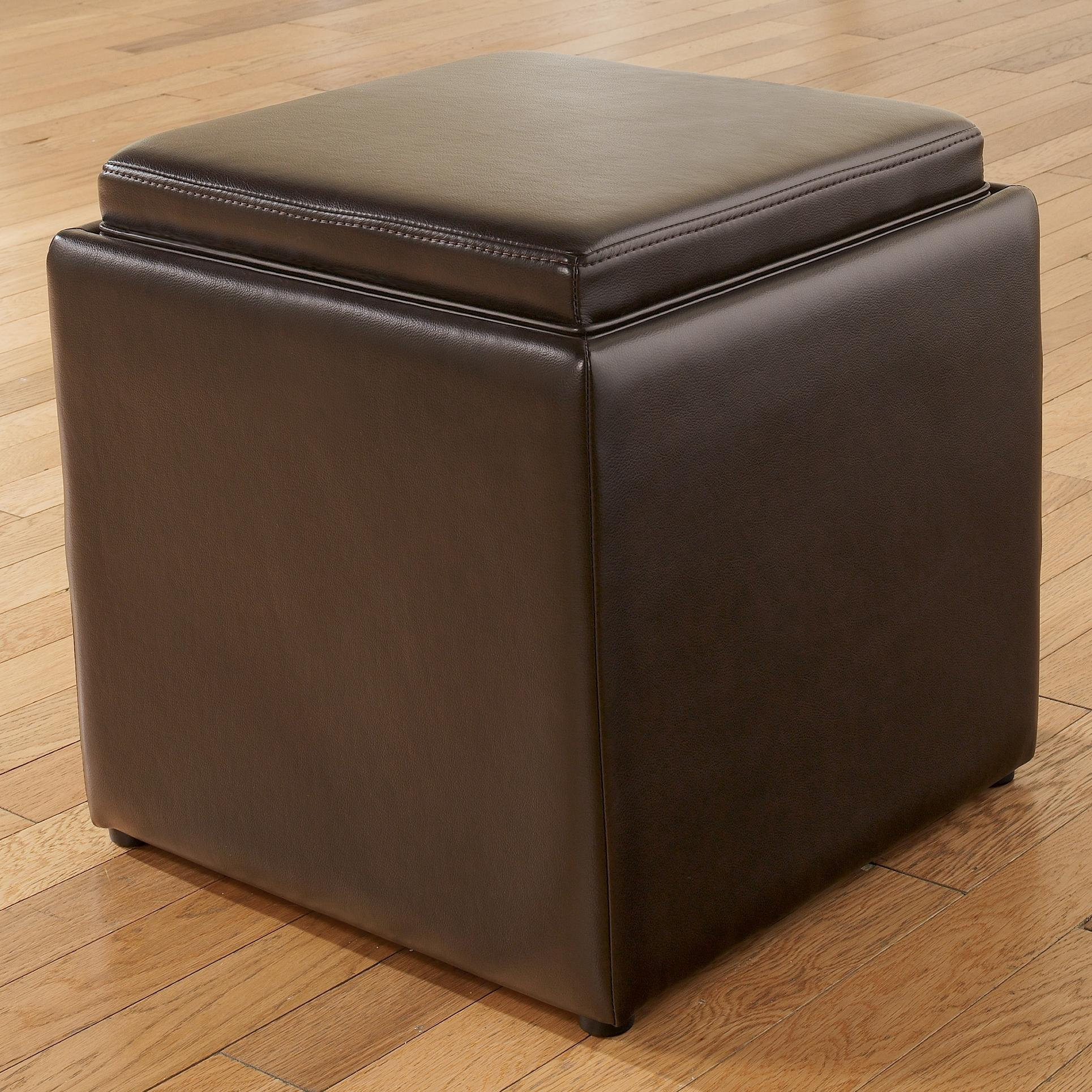 Signature Design by Ashley Cubit - Chocolate Ottoman with Storage - Item Number: 7740211