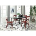 Signature Design by Ashley Minnona 5 Piece Rectangular Dining Set w/ Red Chairs