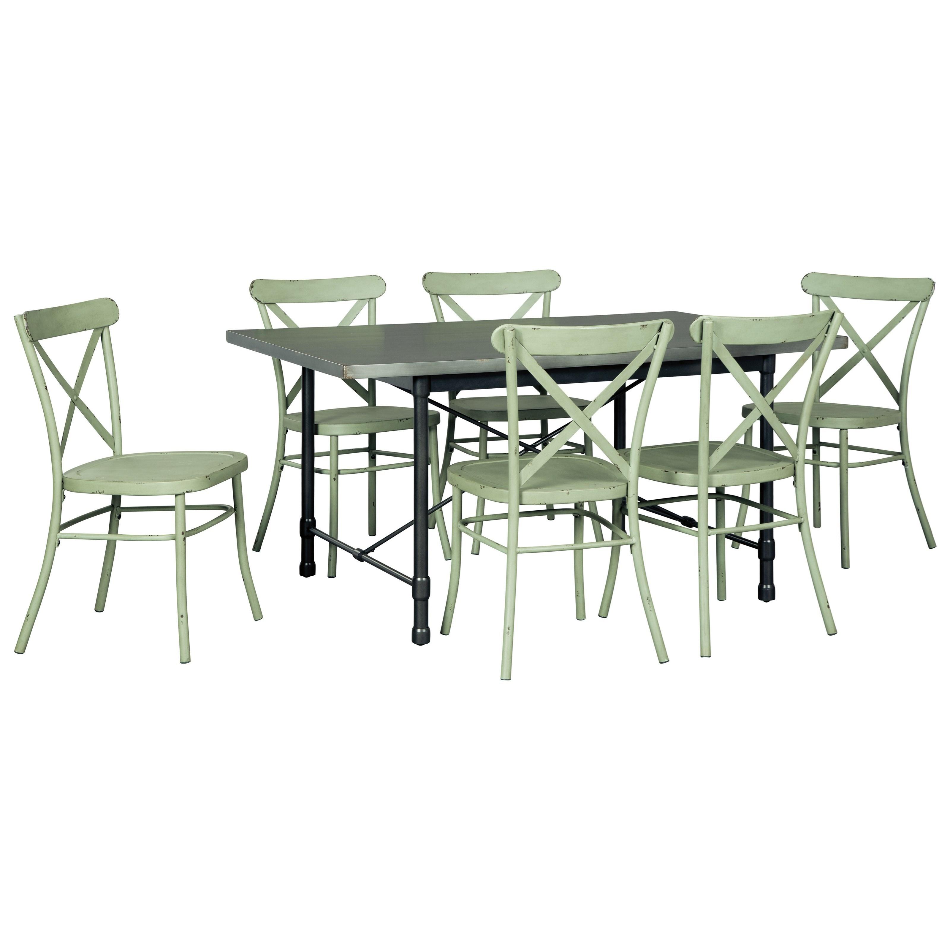 Signature Design By Ashley Minnona 7 Piece Rectangular Dining Set W Light Green Chairs Value