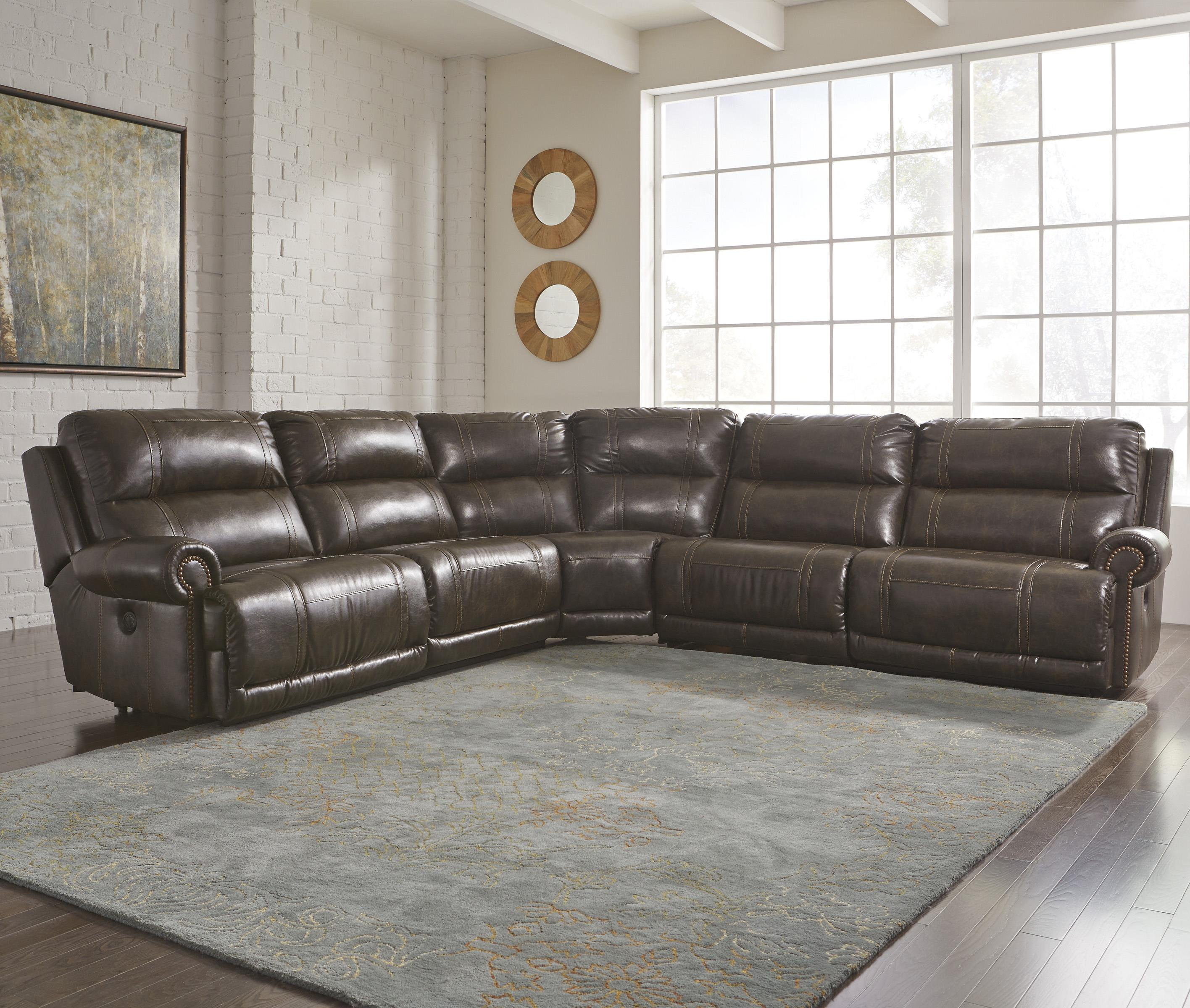 Signature Design by Ashley Dak DuraBlend® 5-Piece Reclining Sectional - Item Number: 2270040+19+77+46+41