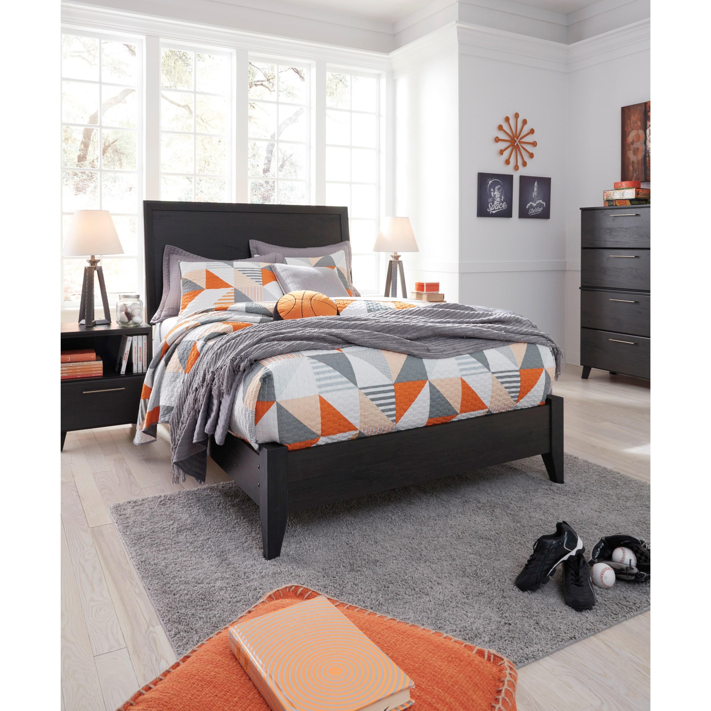 Ashley signature design daltori full panel bed with low profile footboard dunk bright - Ashley furniture platform beds ...