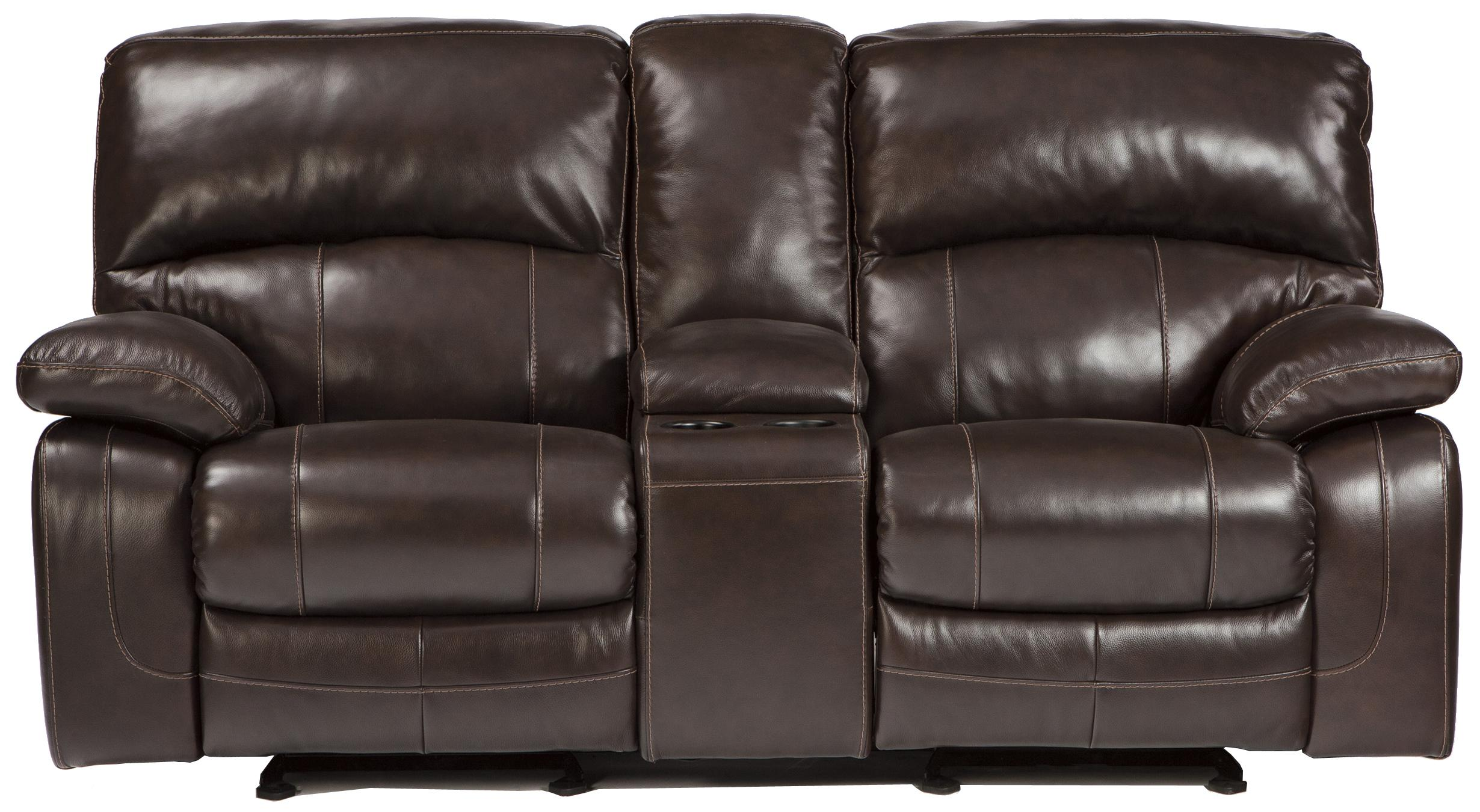 Signature Design By Ashley Damacio Dark Brown Leather Match Glider Recliner Loveseat W