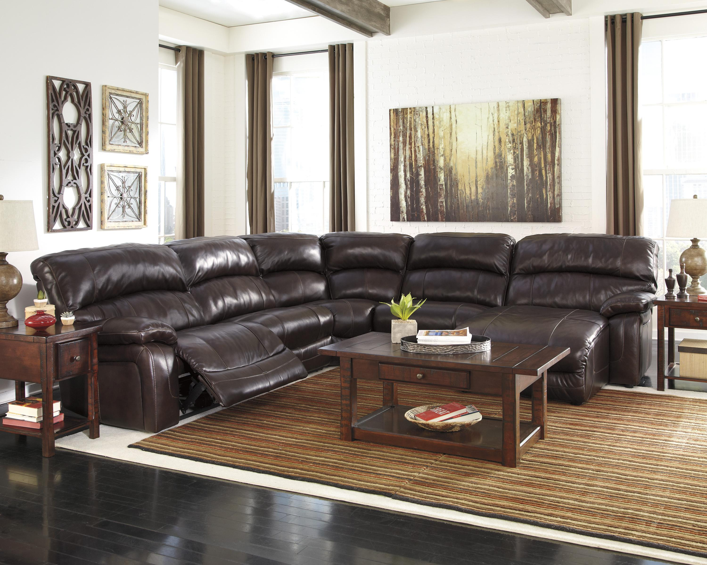 Signature Design By Ashley Damacio Dark Brown Reclining Sectional With Right Press Back Chaise