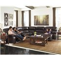 Signature Design by Ashley Damacio - Dark Brown Reclining Sectional with Right Press Back Chaise