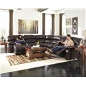 Signature Design by Ashley Damacio - Dark Brown Reclining Sectional w/ Console & Right Press Back Chaise