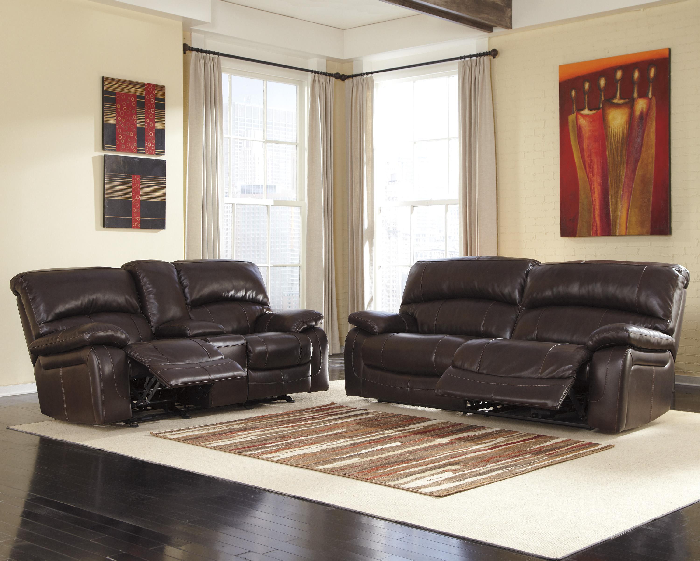 Signature Design By Ashley Damacio Dark Brown Leather Match 2 Seat Reclining Sofa Royal