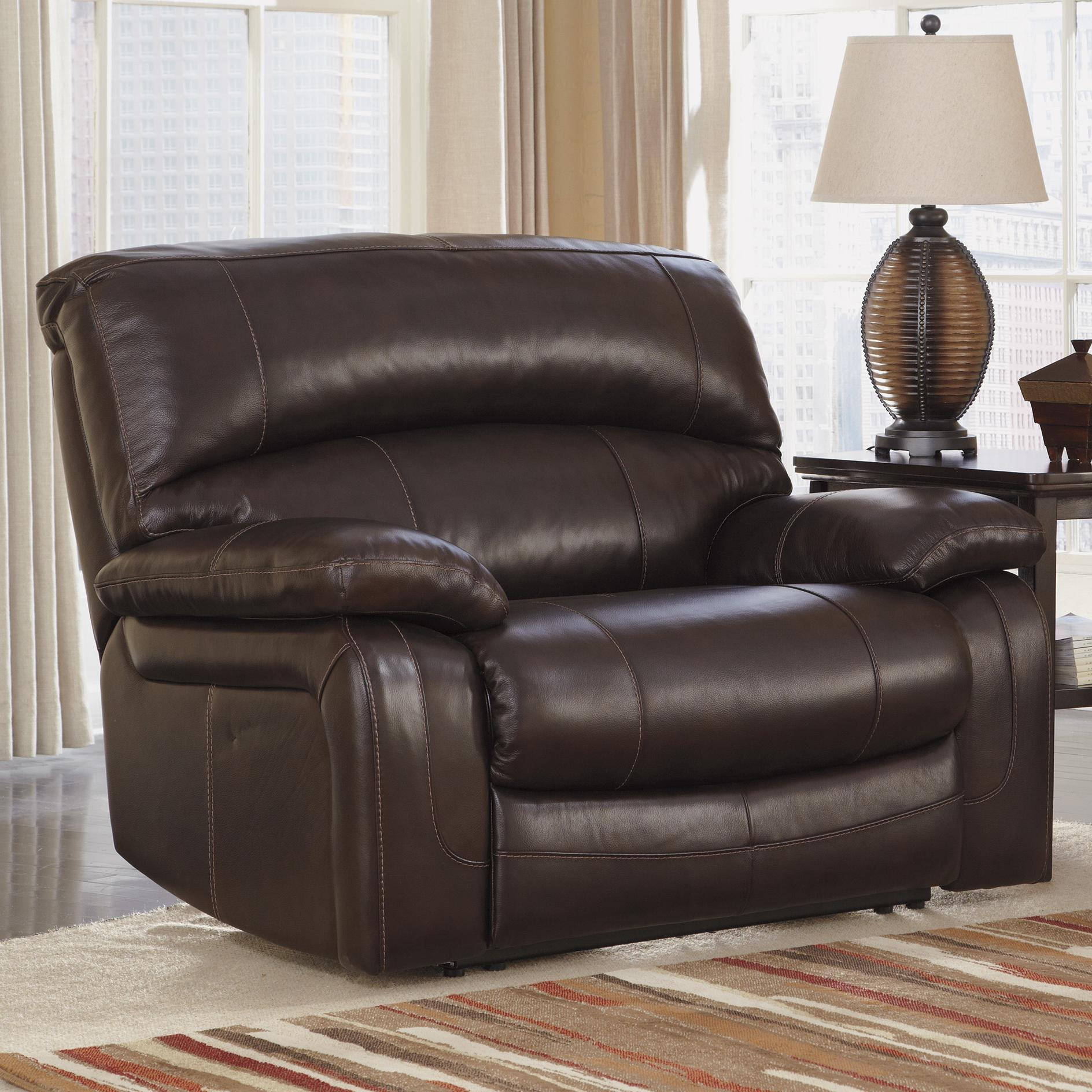 Signature Design by Ashley Damacio - Dark Brown Zero Wall Power Wide Recliner - Item Number: U9820082
