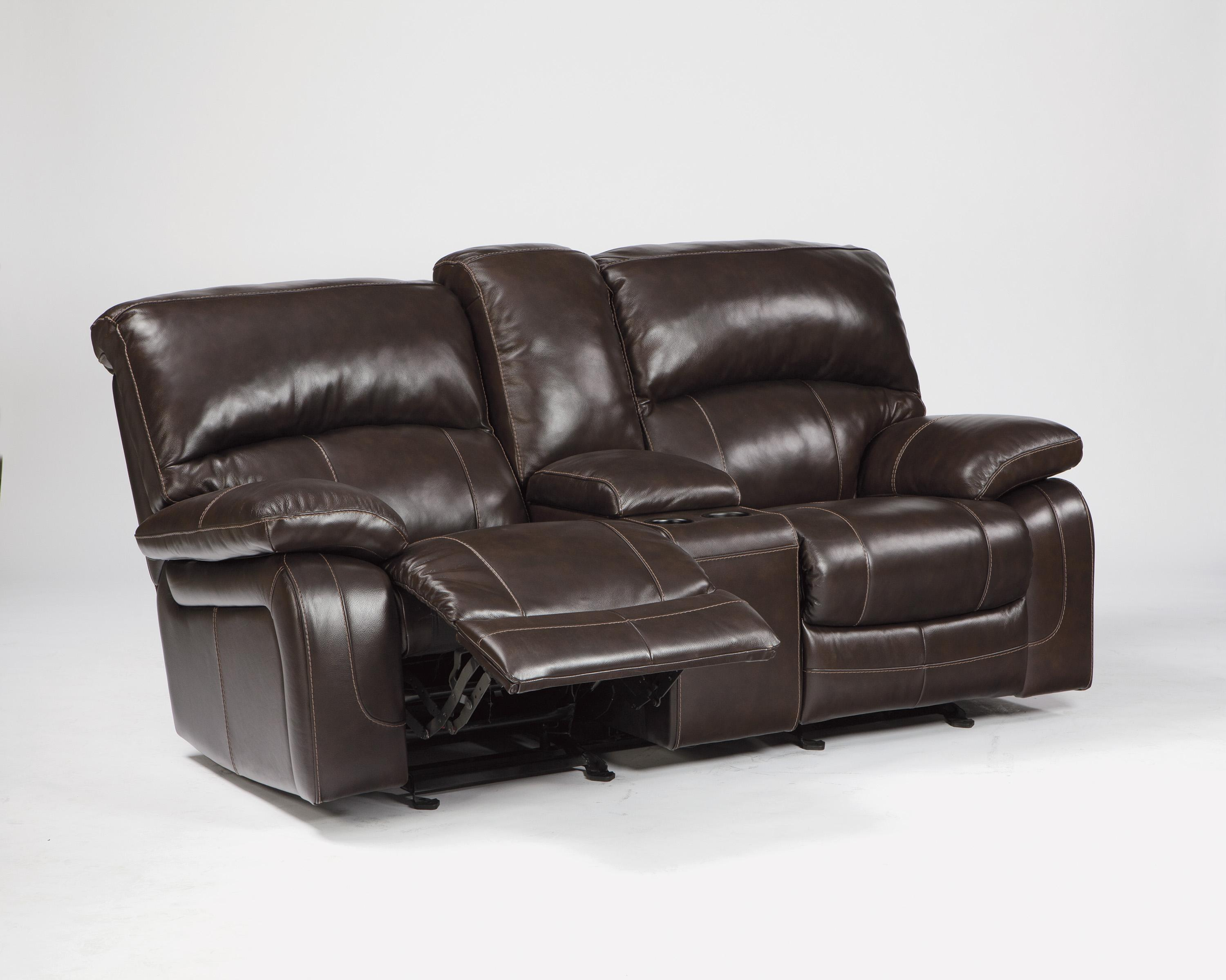 Signature Design By Ashley Denali U9820091 Leather Match Glider Recliner Power Loveseat W