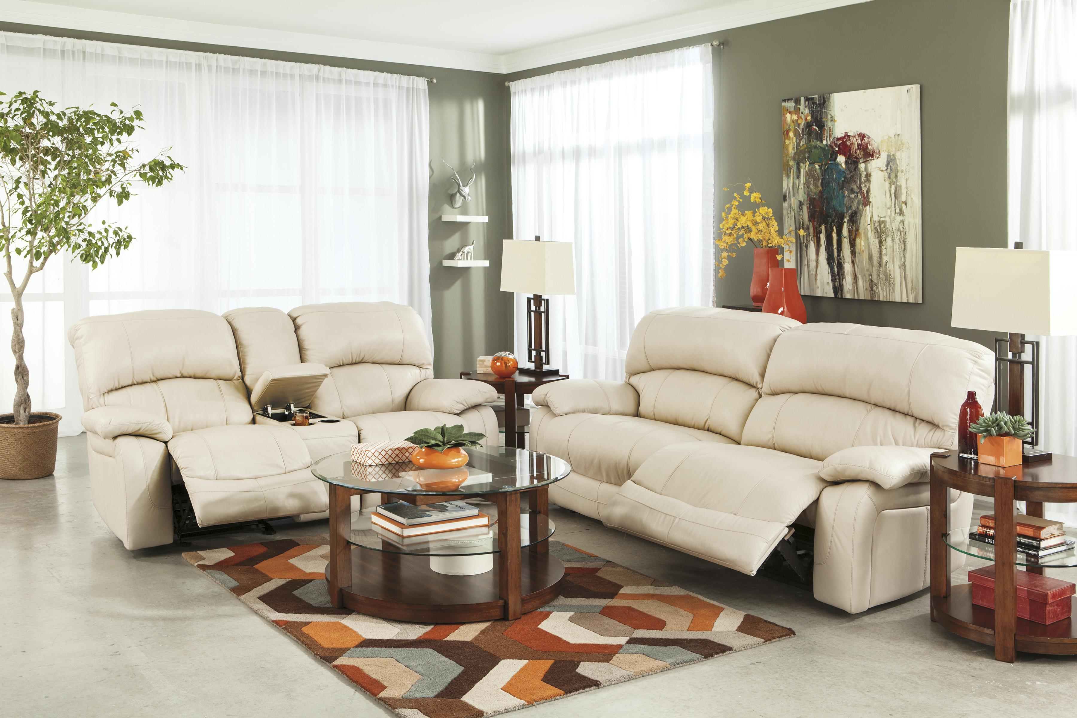 Signature Design by Ashley Damacio - Cream Reclining Living Room Group - Item Number: U98201 Living Room Group 1