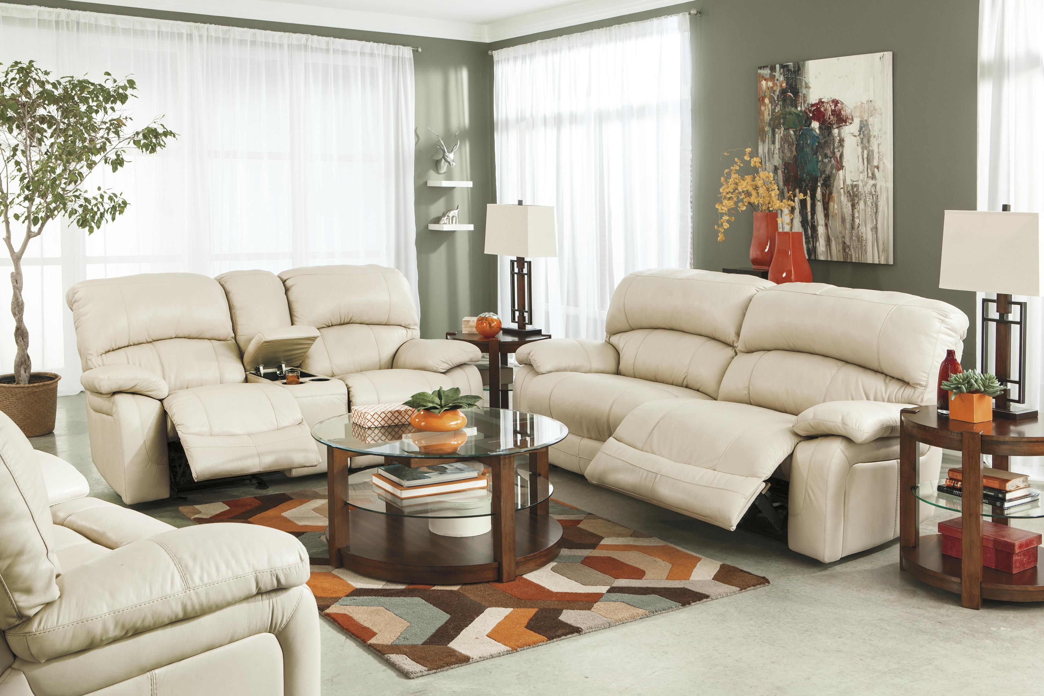 Signature Design by Ashley Damacio - Cream Reclining Living Room Group - Item Number: U98201 Living Room Group 4