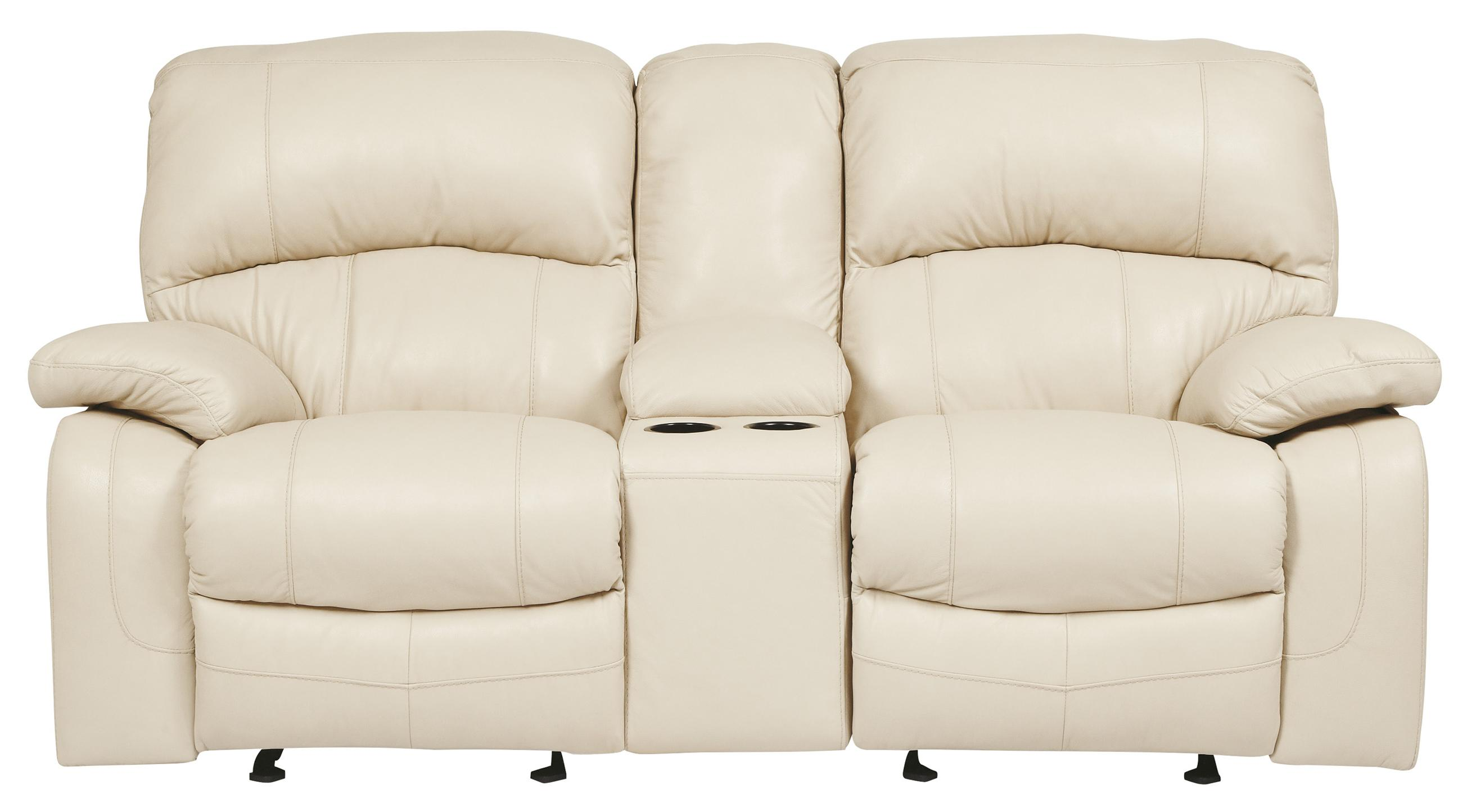 Signature Design by Ashley Damacio - Cream Glider Recliner Power Loveseat w/ Console - Item Number: U9820191