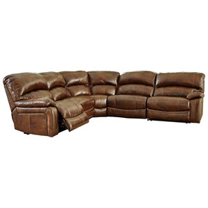 Benchcraft Damacio - Harness Leather Match Power Reclining Sectional