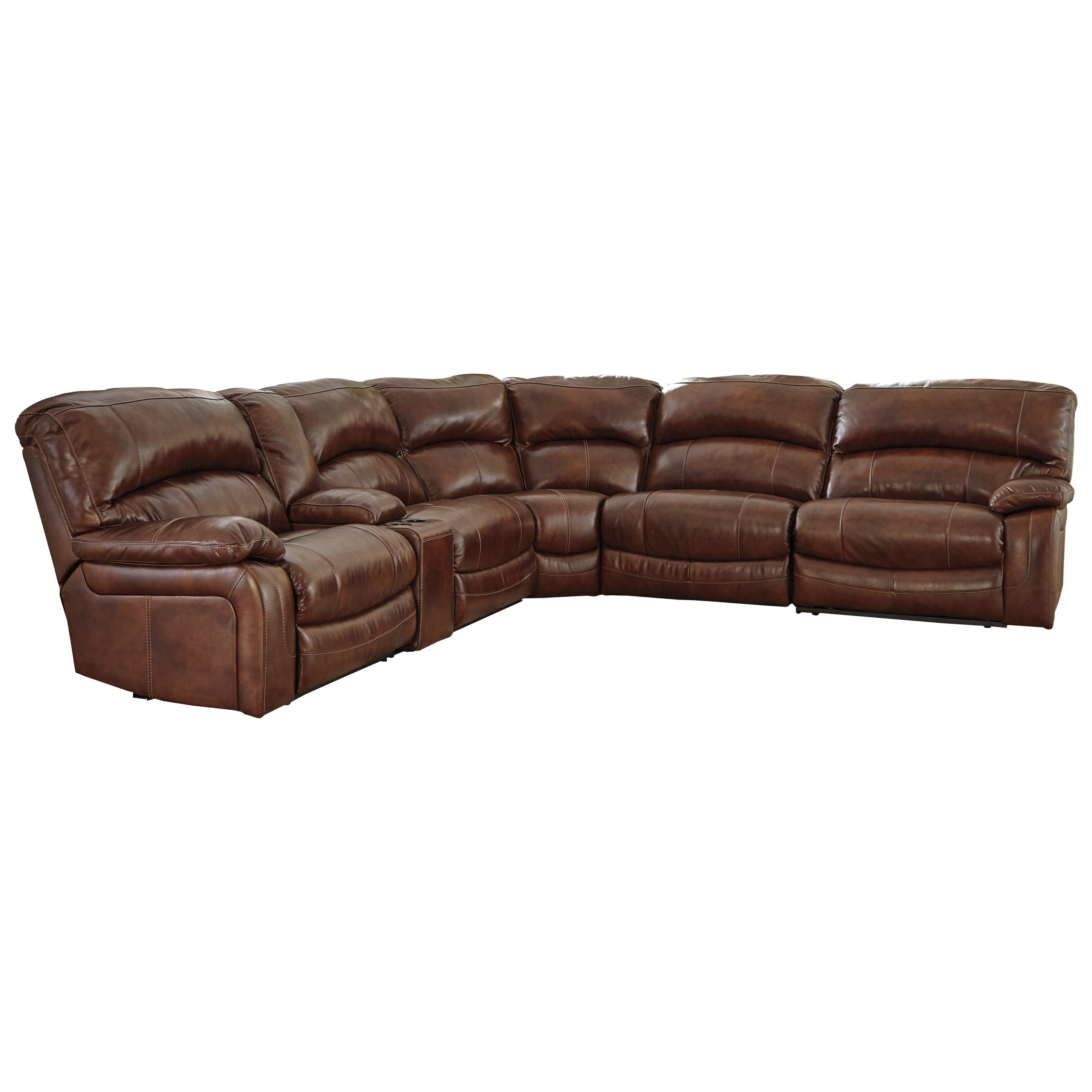 Signature Design by Ashley Damacio - Harness Power Reclining Sectional with Console - Item Number: U9821058+57+19+77+46+62