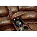 Signature Design by Ashley Damacio - Harness Leather Match Power Reclining Sectional with Console