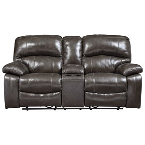 Signature Design by Ashley Damacio - Metal Glider Recliner Loveseat w/ Console
