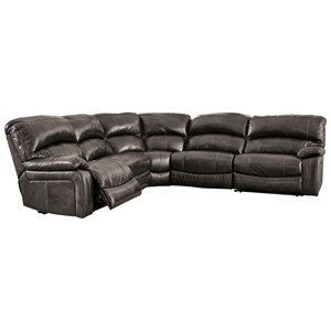 Signature Design by Ashley Damacio - Metal Leather Match Power Reclining Sectional