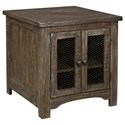 Signature Design by Ashley Danell Ridge Rustic Rectangular End Table with Metal Accents