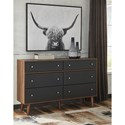 Signature Design by Ashley Daneston Mid-Century Modern 6 Drawer Dresser