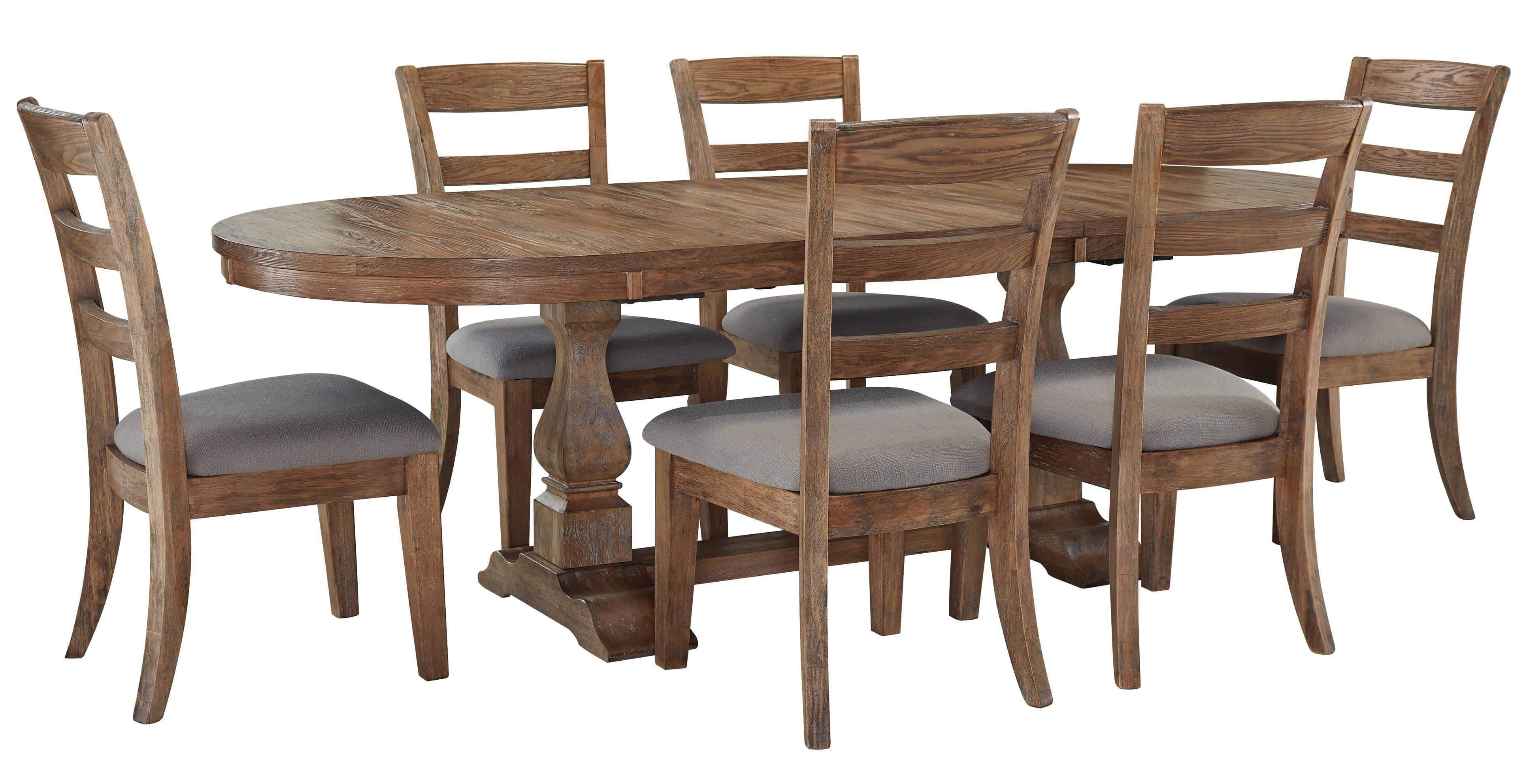 Signature Design by Ashley Danimore 7 Piece Dining Set with Oval Table - Item Number: D473-45B+T+6x01