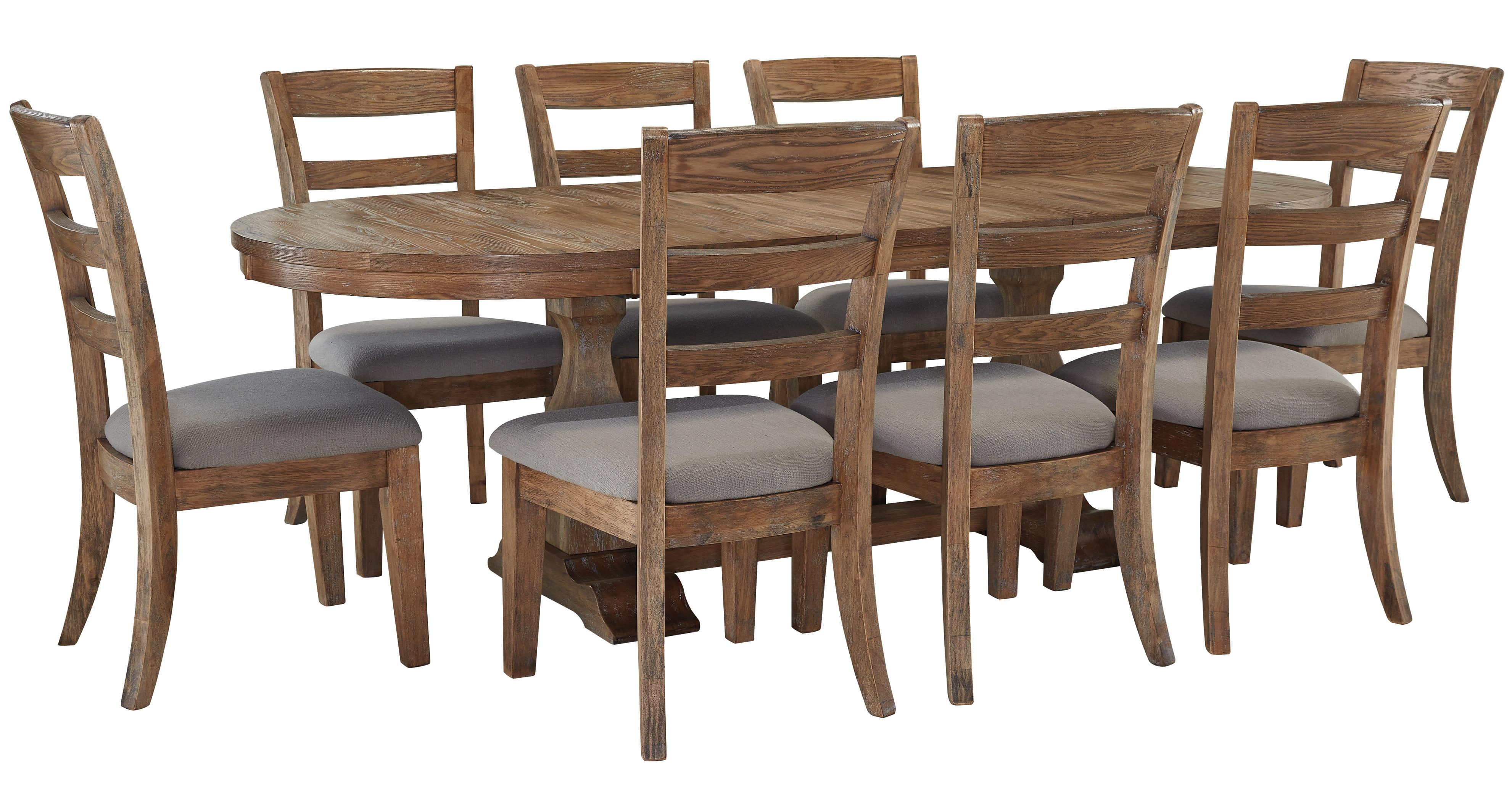 Signature Design by Ashley Danimore 9 Piece Dining Set with Oval Table - Item Number: D473-45B+T+8x01