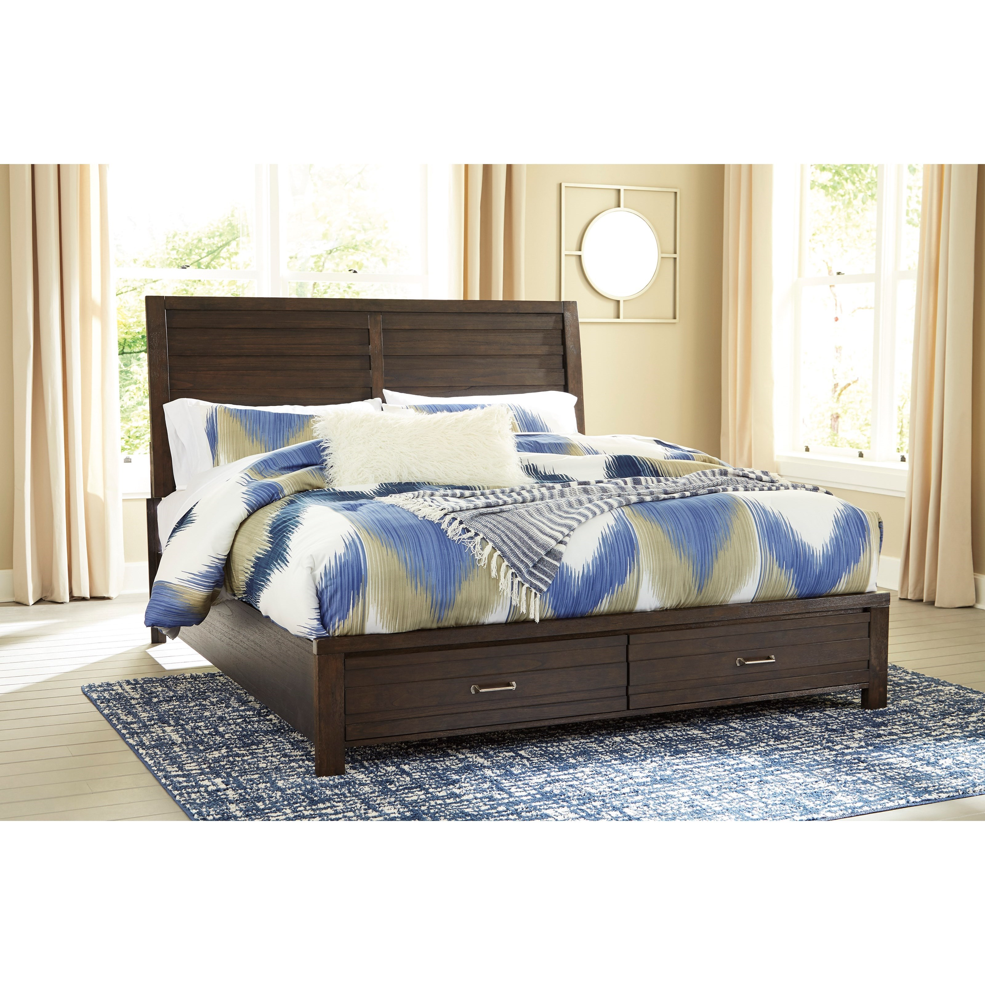 B705 58 Ck Ashley Furniture California King Sleigh Bed: Signature Design By Ashley Darbry King Storage Bed With 2