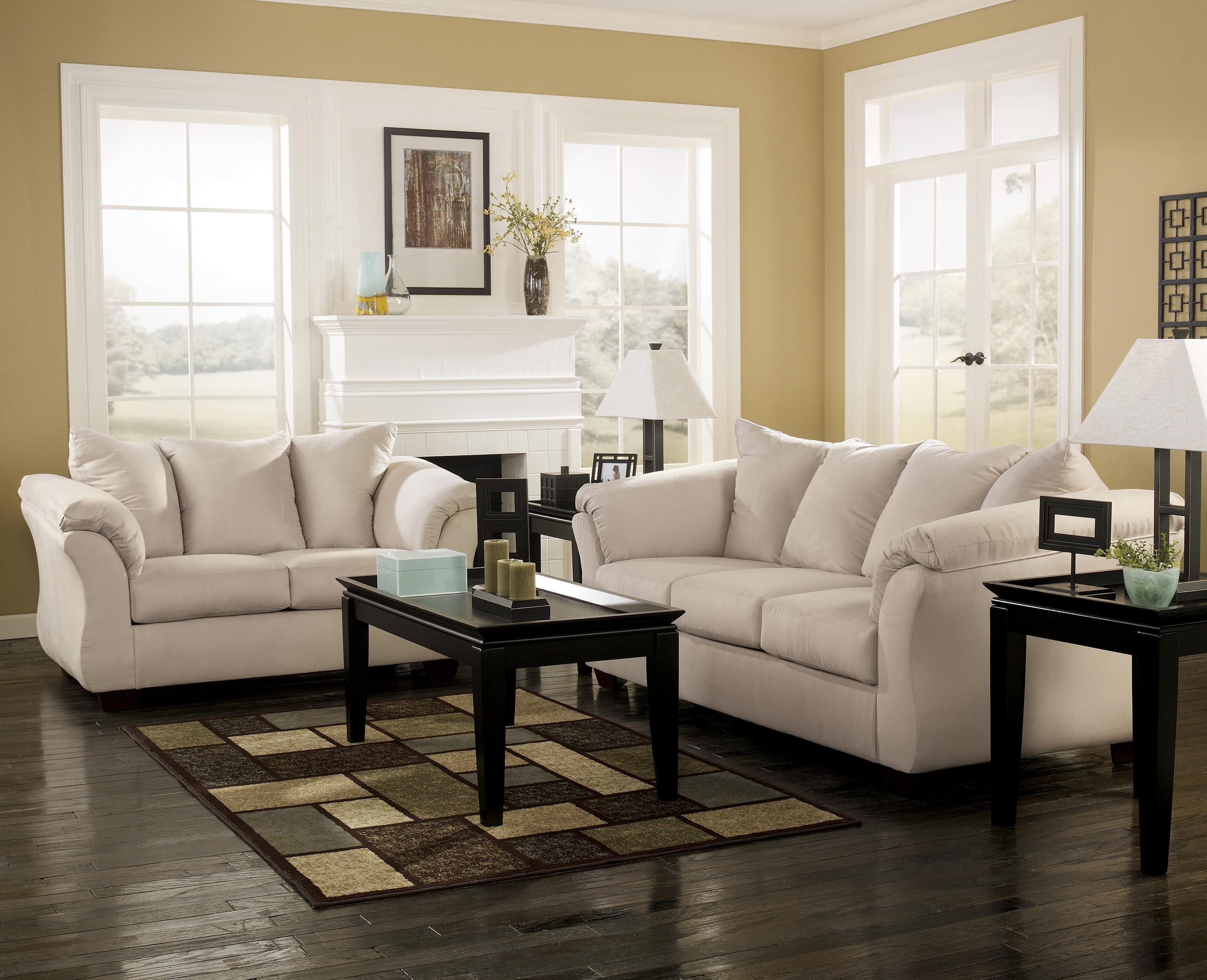 Signature Design By Ashley Darcy Stone 7500035 Contemporary Stationary Loveseat With Flared