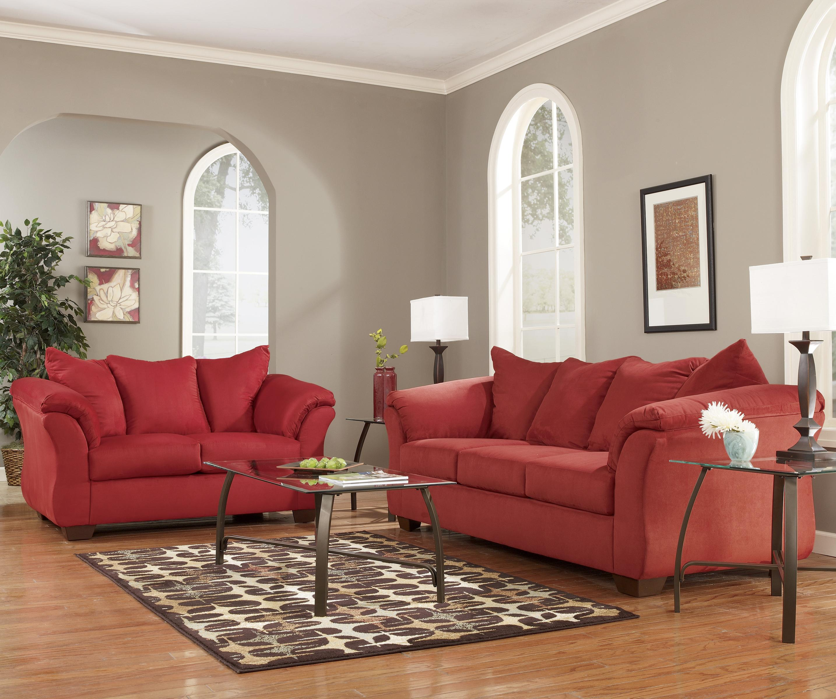 Signature Design By Ashley Darcy Salsa 7500138 Contemporary Stationary Sofa With Flared Back