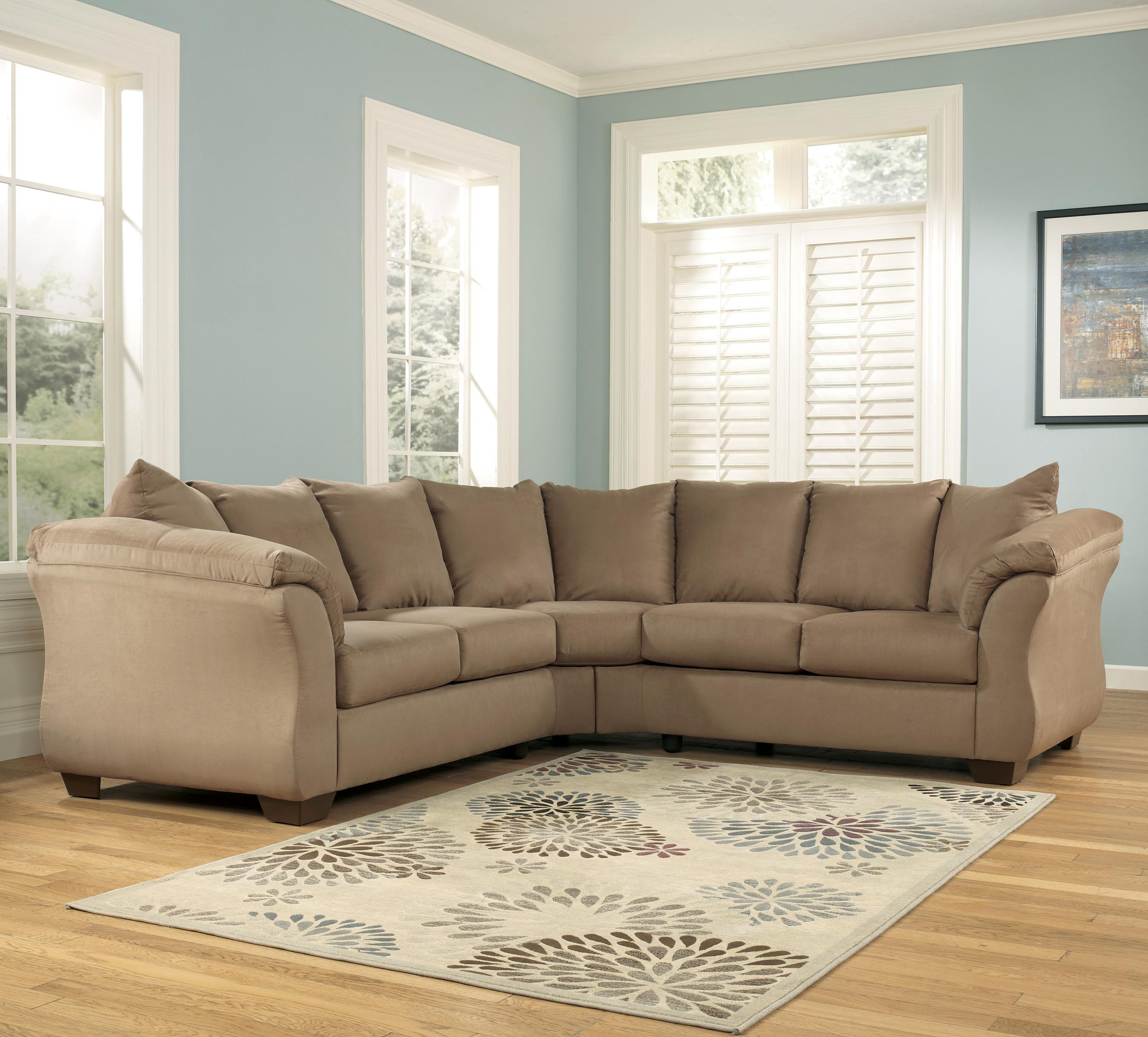 Signature Design by Ashley Darcy - Mocha Sectional Sofa - Item Number 7500255+7500256 : ashley furniture sectional couches - Sectionals, Sofas & Couches