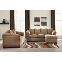 Signature Design by Ashley Darcy - Mocha Contemporary Full Sofa Chaise Sleeper with Flared Back Pillows