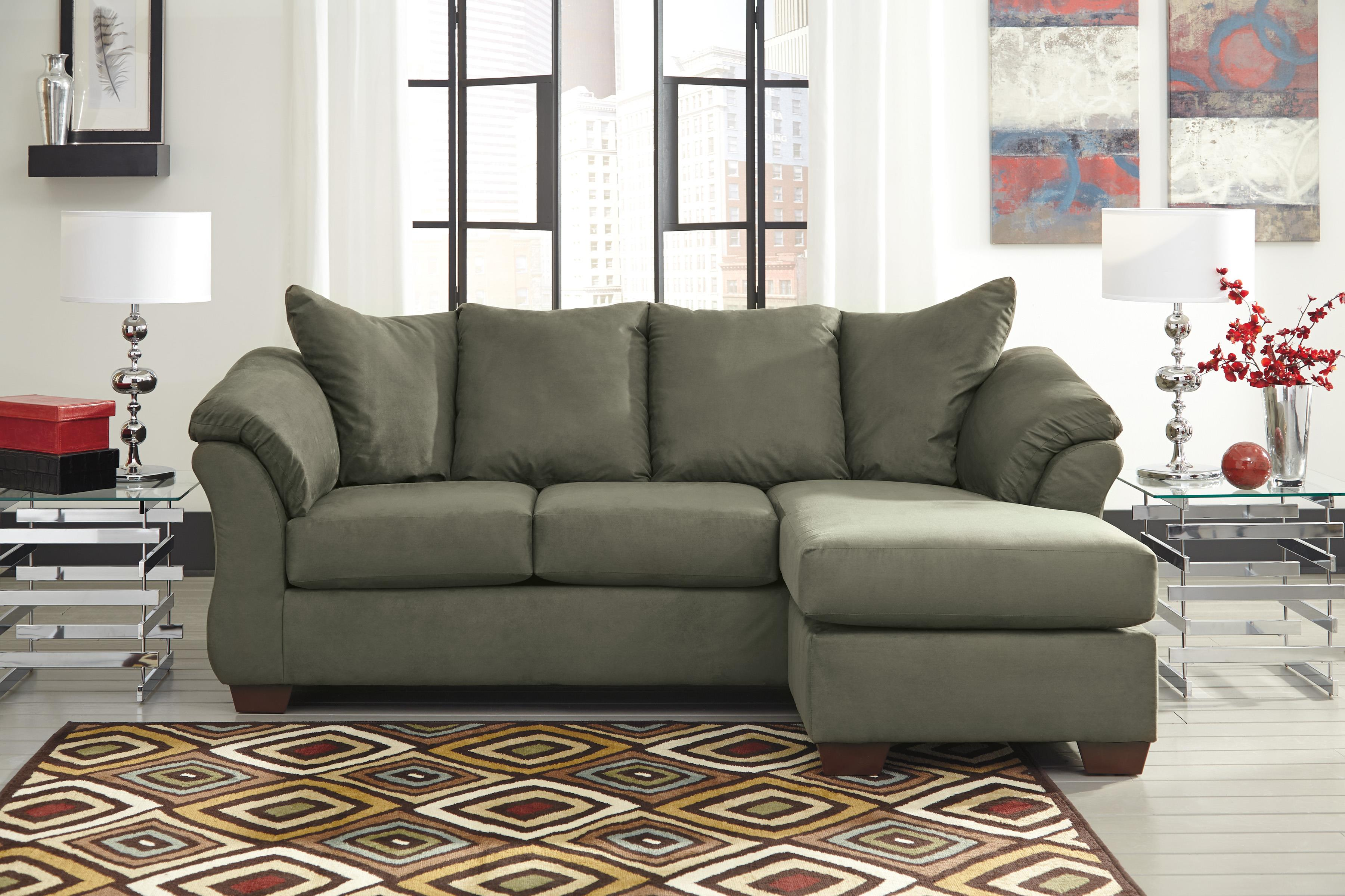 Ashley signature design darcy sage 7500318 contemporary for Ashley sofa with chaise