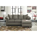 Signature Design by Ashley Darcy - Cobblestone Contemporary Full Sofa Chaise Sleeper with Flared Back Pillows