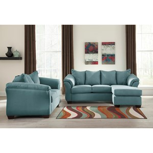 Signature Design by Ashley Furniture Darcy - Sky Stationary Living Room Group