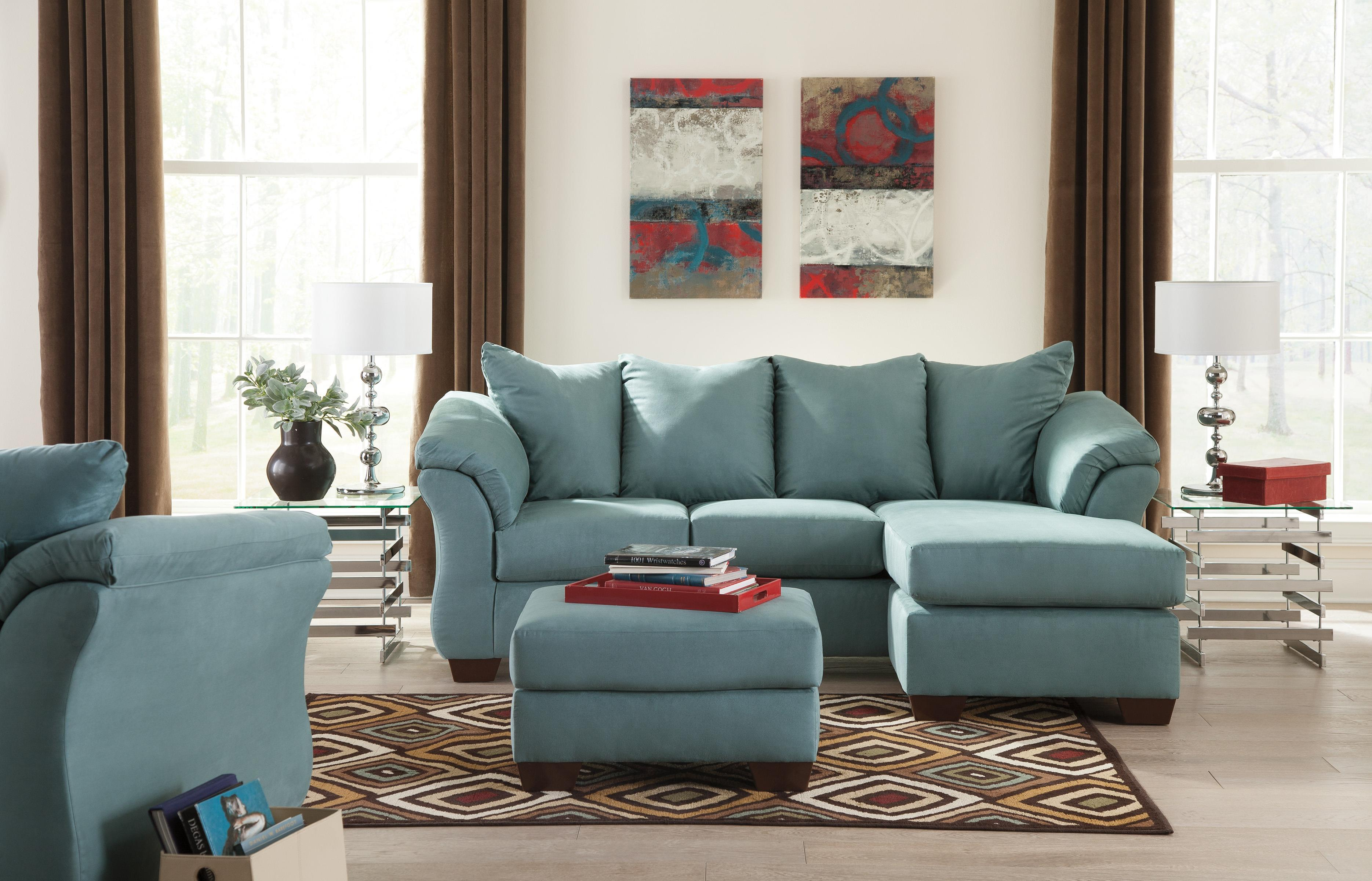 Signature Design By Ashley Darcy Sky 7500618 Contemporary Sofa Chaise With Flared Back Pillows