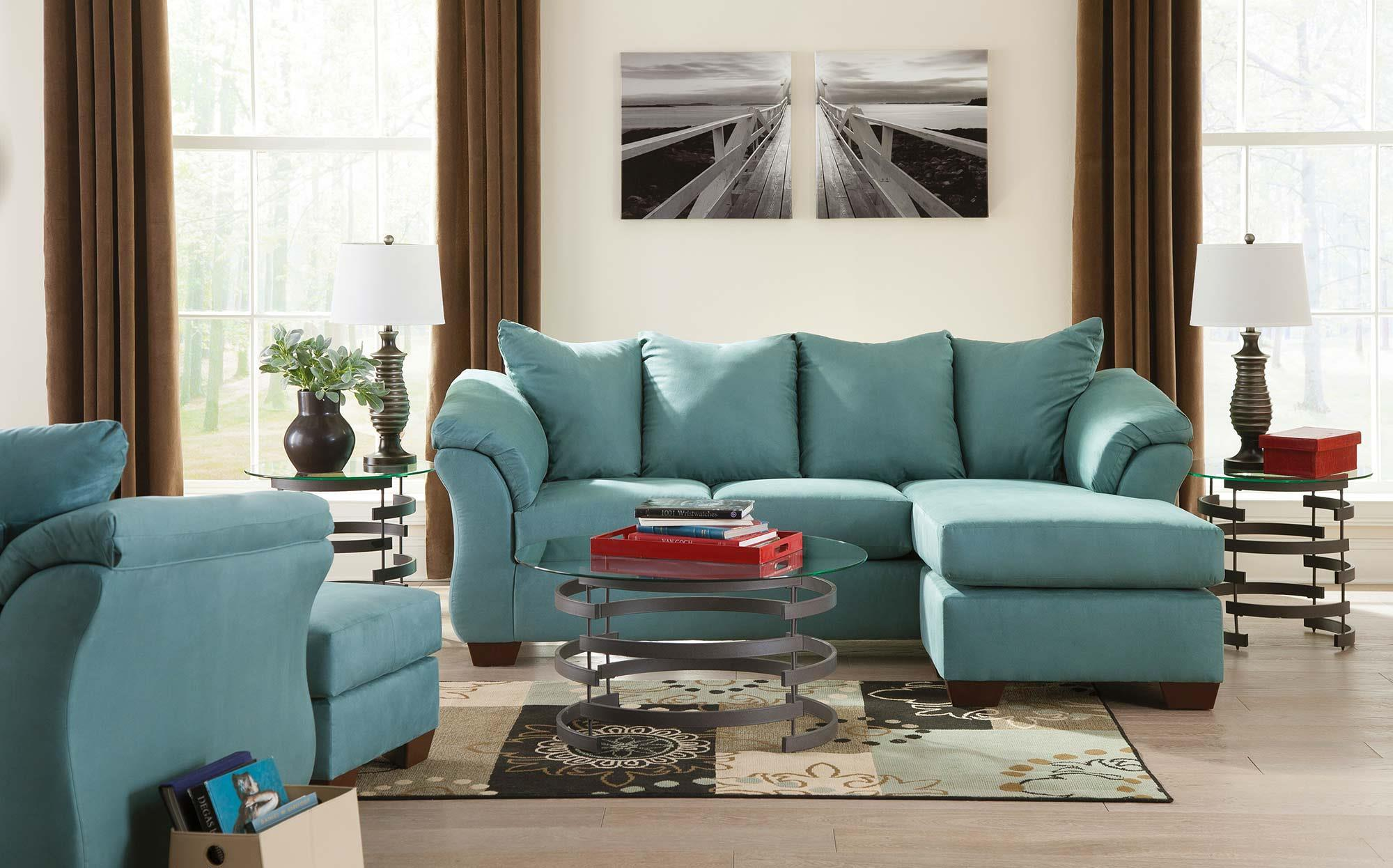 Signature Design by Ashley Vista - Sky 5-Piece Living Room Package - Item Number: 7500618+20+T408-13
