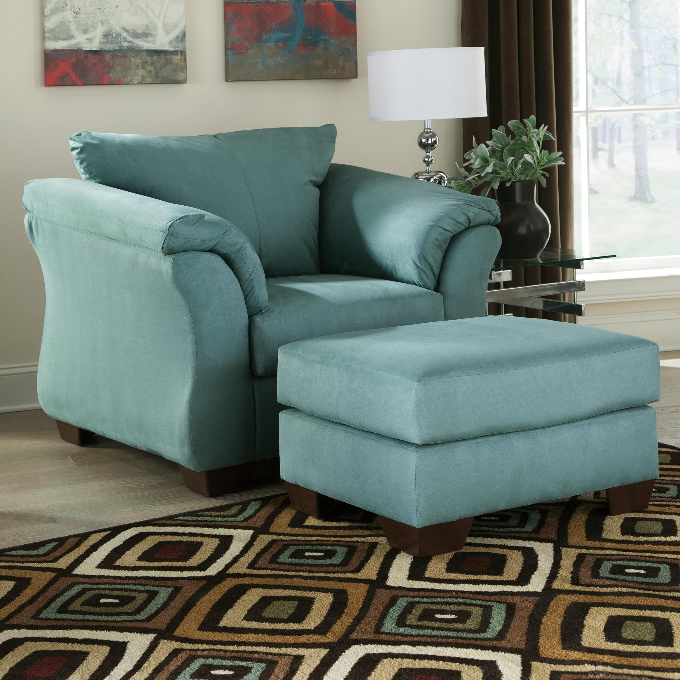 Signature Design by Ashley Darcy - Sky Upholstered Chair and Ottoman - Item Number: 7500620+14