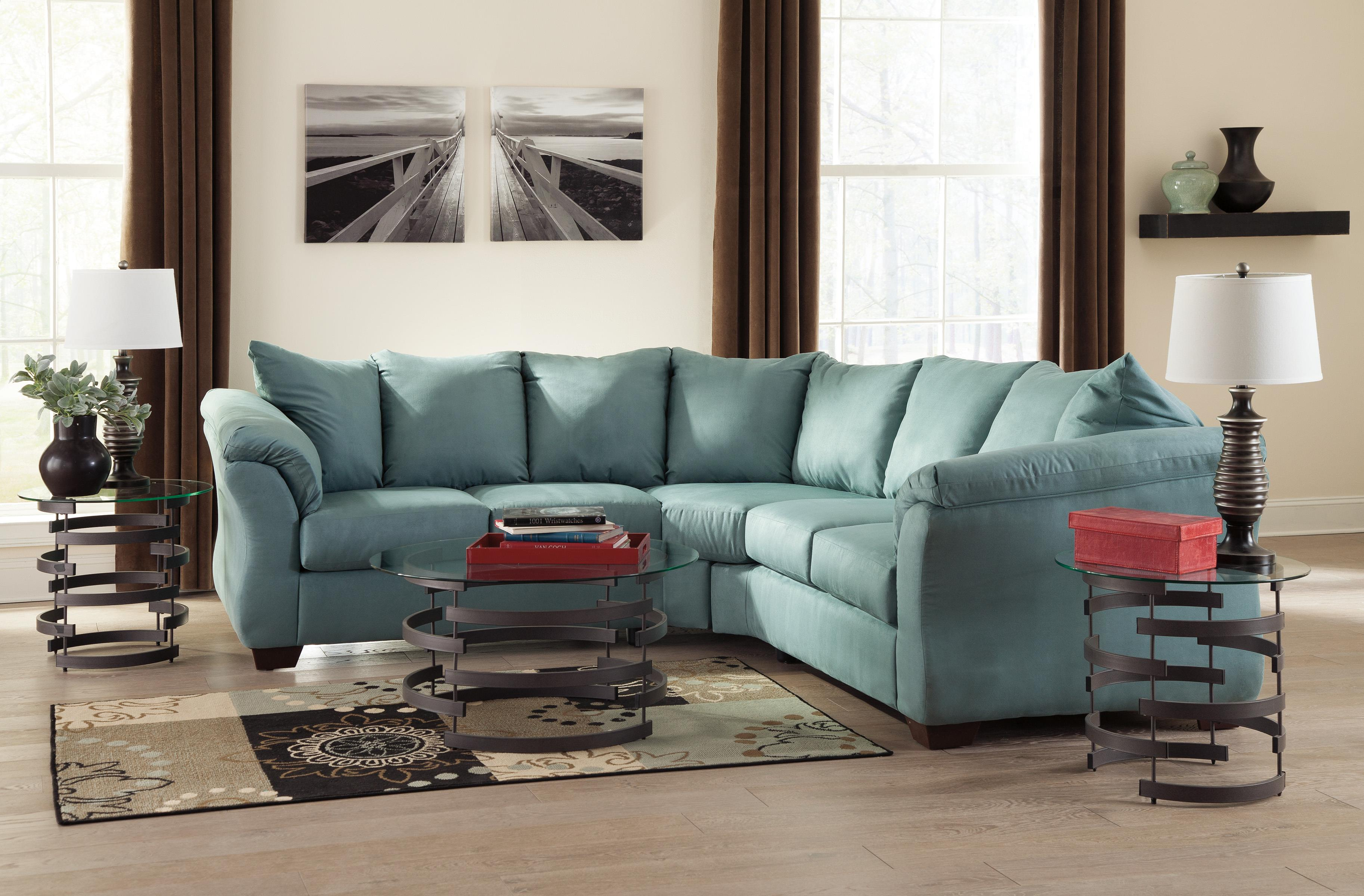 Ashley Signature Design Darcy Sky Contemporary Sectional Sofa With Sweeping Pillow Arms Dunk