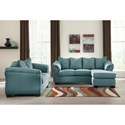 Signature Design by Ashley Vista - Sky Contemporary Full Sofa Chaise Sleeper with Flared Back Pillows