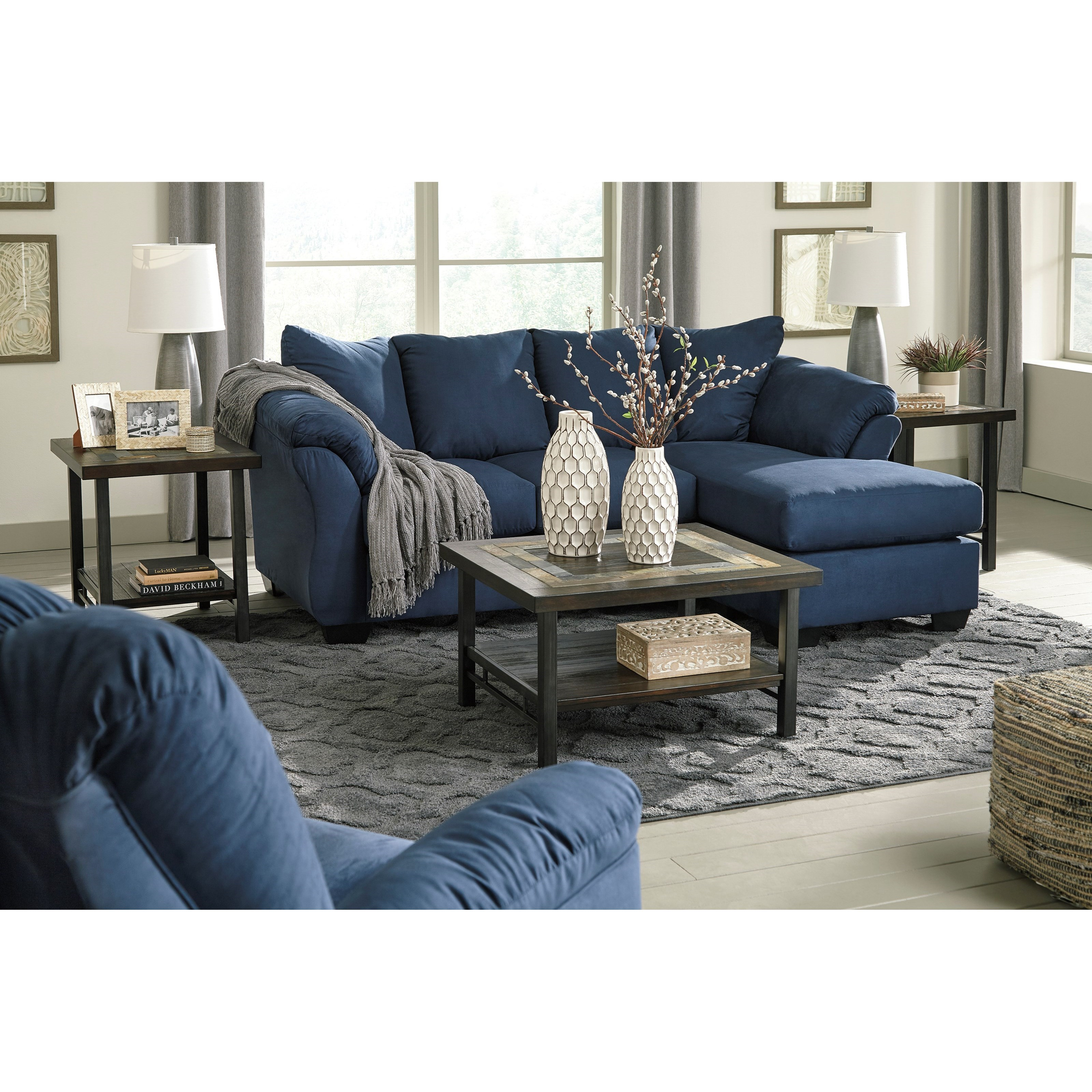 Ashley signature design darcy blue 7500718 contemporary for Blue sofa with chaise