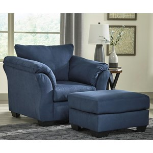Signature Design by Ashley Darcy - Blue Upholstered Chair and Ottoman