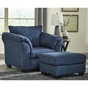 Signature Design by Ashley Darcy - Blue Upholstered Chair and Ottoman - Item Number: 7500720+14