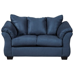 Signature Design by Ashley Darcy - Blue Stationary Loveseat