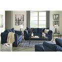Signature Design by Ashley Darcy - Blue Sofa, Loveseat and Chair Set - Item Number: 7500738+35+20