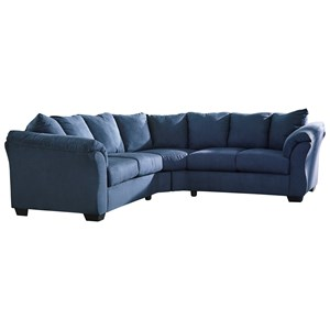 Signature Design by Ashley Darcy - Blue Sectional Sofa