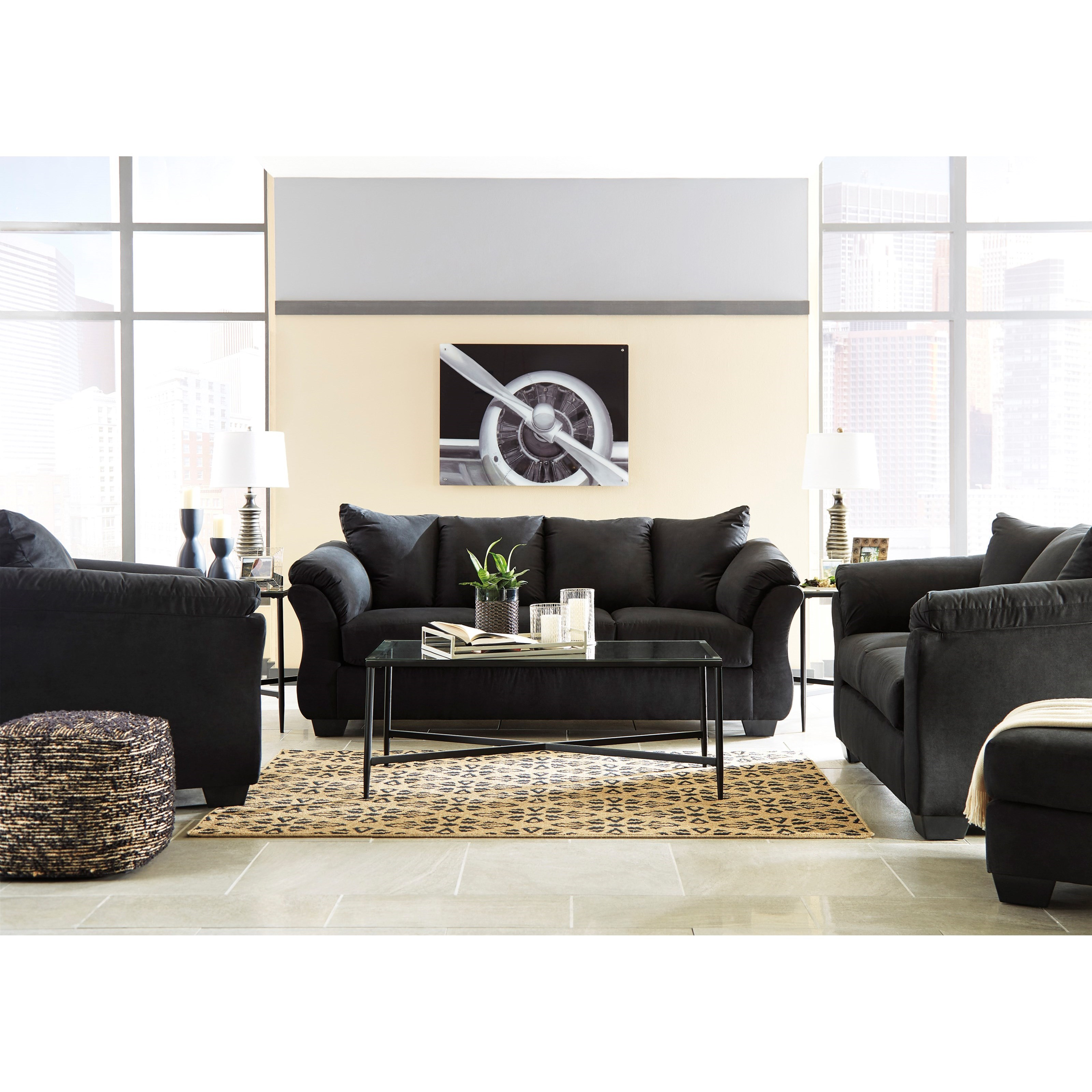Signature Design by Ashley Darcy - Black Stationary Living Room Group - Item Number: 75008 Living Room Group 2