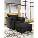 Signature Design by Ashley Darcy - Black Contemporary Ottoman with Tapered Legs