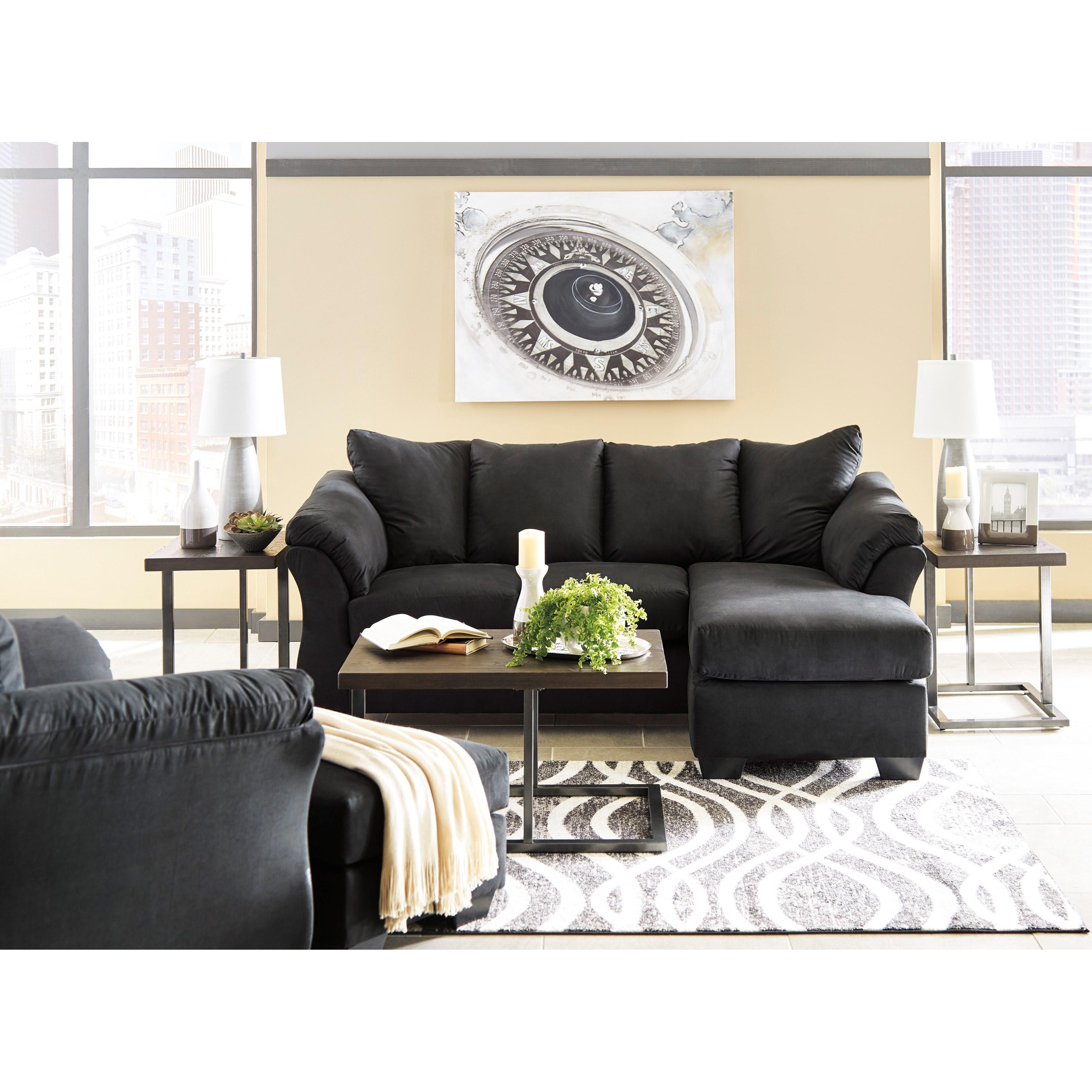 Ashley signature design darcy black contemporary sofa for Ashley furniture lucia sofa chaise