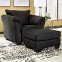 Signature Design by Ashley Darcy - Black Upholstered Chair and Ottoman - Item Number: 7500820+14