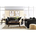 Signature Design by Ashley Darcy - Black Contemporary Stationary Loveseat with Flared Back Pillows